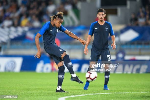 Christopher Nkunku of France and Houssem Aouar of France during the qualifying European U21 match between France and Luxembourg on September 11 2018...