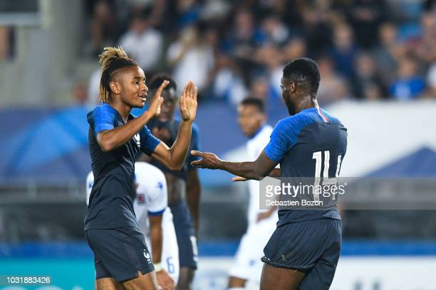 Christopher Nkunku of France and Jonathan Bamba of France during the qualifying European U21 match between France and Luxembourg on September 11 2018...