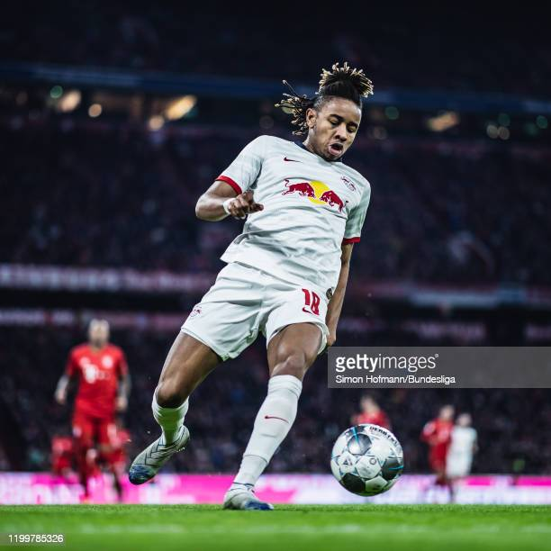 Christopher Nkunku of Leipzig in action during the Bundesliga match between FC Bayern Muenchen and RB Leipzig at Allianz Arena on February 9 2020 in...