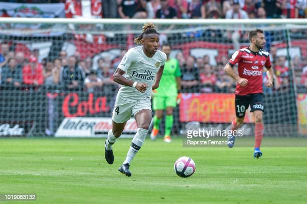 Christopher Nkunku of Paris Saint Germain during the French Ligue 1 match between EA Guingamp and Paris Saint Germain at Stade du Roudourou on August...