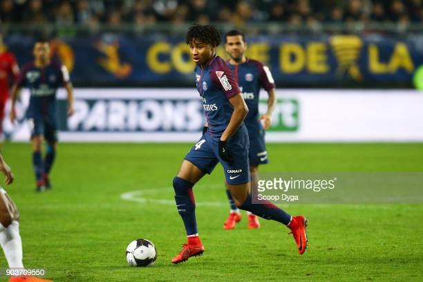 Christopher Nkunku of Paris Saint Germain during the Ligue 1 match between Amiens and Paris Saint Germain at Stade de la Licorne on January 10, 2018...
