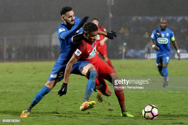 Christopher Nkunku of Paris Saint Germain in action during a French Cup match between Niort and Paris Saint Germain at stade Rene Gaillard on March 1...