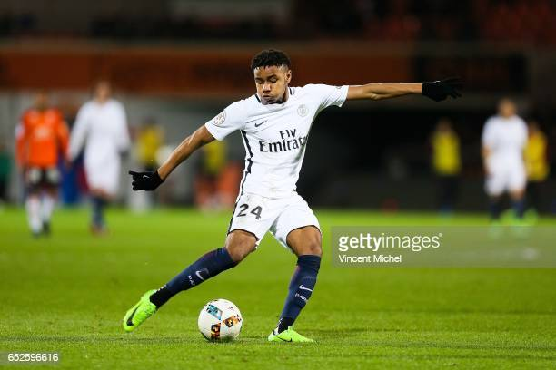 Christopher Nkunku of Paris Saint Germain shots at goal to score the second goal during the French Ligue 1 match between Lorient and Paris Saint...
