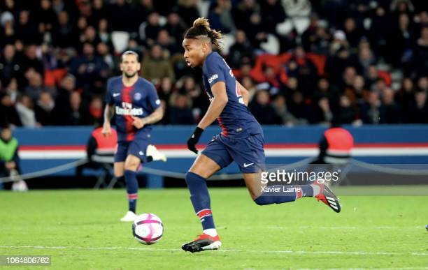 Christopher Nkunku of Paris SaintGermain in action during the French Ligue 1 match between ParisSaint Germain and Toulouse FC at Parc des Princes on...