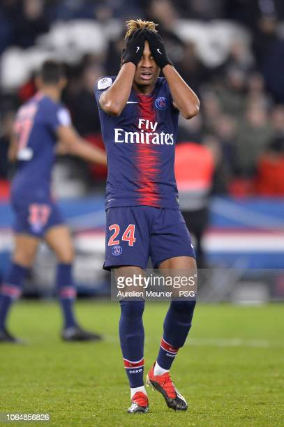 Christopher Nkunku of Paris SaintGermain reacts after missing a goal during the Ligue 1 match between Paris SaintGermain and Toulouse FC at Parc des...