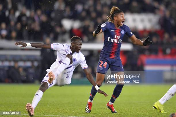 Christopher Nkunku of Paris SaintGermain reacts during the Ligue 1 match between Paris SaintGermain and Toulouse FC at Parc des Princes on November...