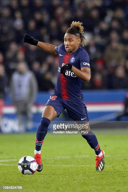 Christopher Nkunku of Paris SaintGermain runs with the ball during the Ligue 1 match between Paris SaintGermain and Toulouse FC at Parc des Princes...