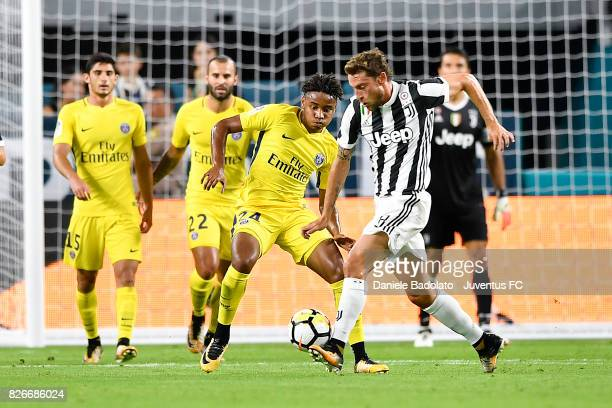 Christopher Nkunku of PSG and Claudio Marchisio of Juventus in action during the International Champions Cup 2017 match between Paris Saint Germain...