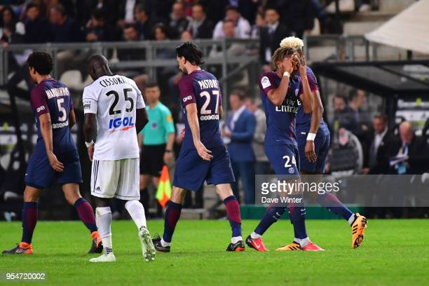 Christopher Nkunku of PSG celebrates after putting his side 2-1 ahead during the Ligue 1 match between Amiens SC and Paris Saint Germain at Stade de...