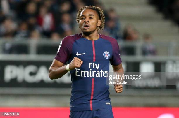 Christopher Nkunku of PSG celebrates his goal during the Ligue 1 match between Amiens SC and Paris Saint Germain at Stade de la Licorne on May 4,...