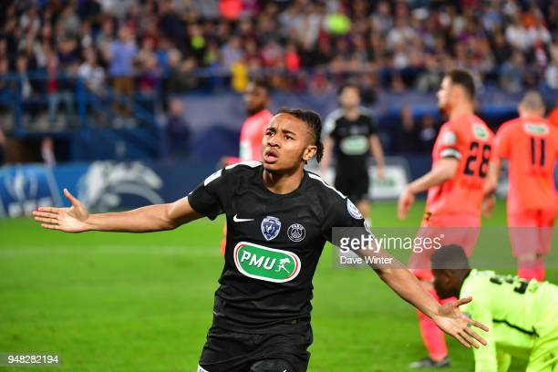 Christopher Nkunku of PSG celebrates putting his side 3-1 ahead during the French Cup Semi Final match between Caen and Paris Saint Germain on April...