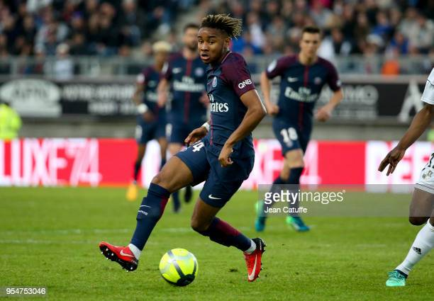 Christopher Nkunku of PSG during the Ligue 1 match between Amiens SC and Paris Saint Germain at Stade de la Licorne on May 4, 2018 in Amiens, France.