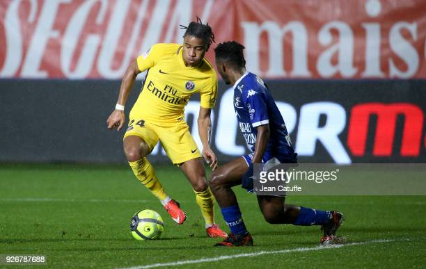 Christopher Nkunku of PSG during the Ligue 1 match between ESTAC Troyes and Paris Saint Germain at Stade de l'Aube on March 3 2018 in Troyes France