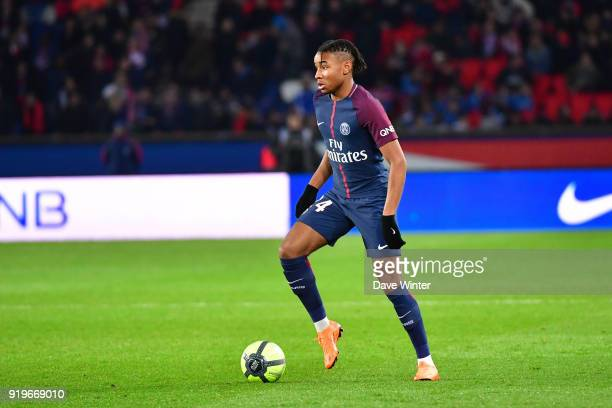 Christopher Nkunku of PSG during the Ligue 1 match between Paris Saint Germain and Strasbourg at Parc des Princes on February 17, 2018 in Paris,...
