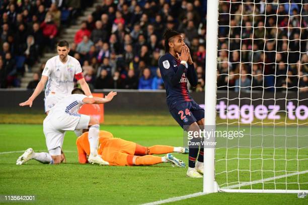 Christopher Nkunku of PSG reacts after goalkeeper Matz Sels of Strasbourg intercepts the ball during the Ligue 1 match between Paris Saint Germain...