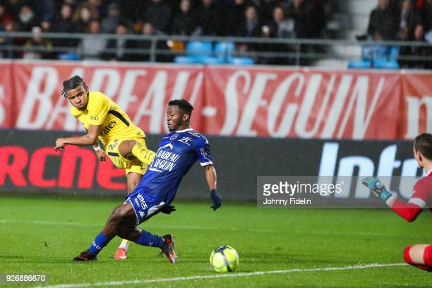 Christopher Nkunku of PSG score his goal during the Ligue 1 match between Troyes AC and Paris Saint Germain at Stade de l'Aube on March 3 2018 in...