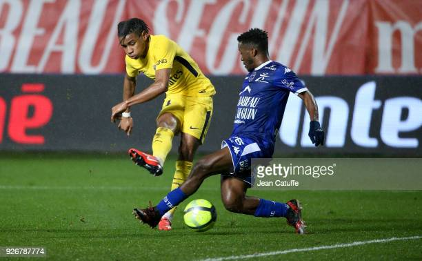 Christopher Nkunku of PSG scores the second goal of his team during the Ligue 1 match between ESTAC Troyes and Paris Saint Germain at Stade de l'Aube...