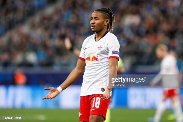 Christopher Nkunku of RB Leipzig reacts during the UEFA Champions League Group G match between FC Zenit Saint Petersburg and RB Leipzig on November 5...