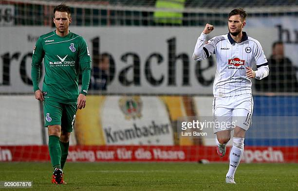 Christopher Noethe of Bielefeld celebrates after scoring his teams second goal during the Second Bundesliga match between Arminia Bielefeld and MSV...