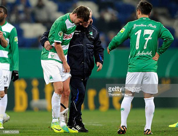 Christopher Noethe of Fuerth must leavethe pitch injured during the DFB Cup Quarter Final match between TSG 1899 Hoffenheim and SpVgg Greuther Fuerth...