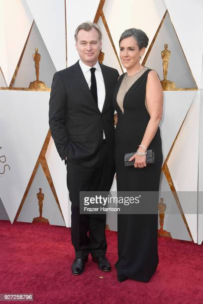 Christopher Nolan and Emma Thomas attend the 90th Annual Academy Awards at Hollywood Highland Center on March 4 2018 in Hollywood California