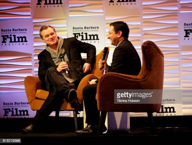 Christopher Nolan and Scott Feinberg attend the 33rd annual Santa Barbara International Film Festival outstanding directors of the year presentation...