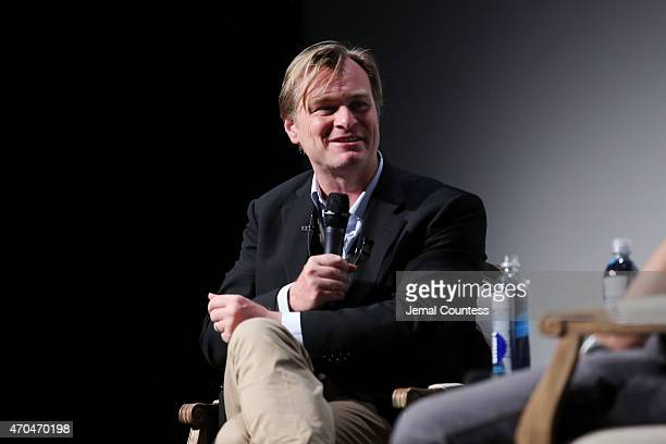 Christopher Nolan attends Tribeca Talks Director Series Christopher Nolan With Bennett Miller during the 2015 Tribeca Film Festival at BMCC Tribeca...
