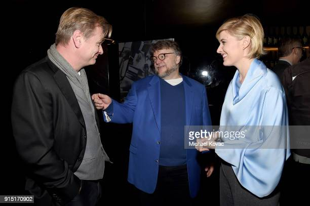 Christopher Nolan Guillermo del Toro and Greta Gerwig visit the Dom Perignon Lounge before receiving the Outstanding Directors Award at The Santa...