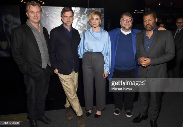 Christopher Nolan Paul Thomas Anderson Greta Gerwig Guillermo del Toro and Jordan Peele visit the Dom Perignon Lounge after receiving the Outstanding...