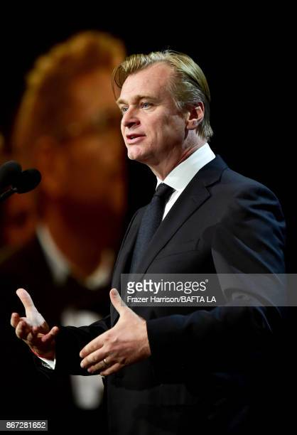 Christopher Nolan speaks onstage at the 2017 AMD British Academy Britannia Awards Presented by American Airlines And Jaguar Land Rover at The Beverly...
