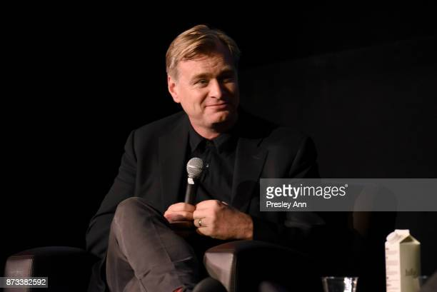 Christopher Nolan speaks onstage during 'Cinematic Storytelling A Conversation With Christopher Nolan' at AFI FEST 2017 Presented By Audi at the...
