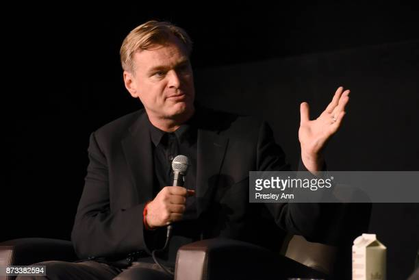 """Christopher Nolan speaks onstage during """"Cinematic Storytelling: A Conversation With Christopher Nolan"""" at AFI FEST 2017 Presented By Audi at the..."""