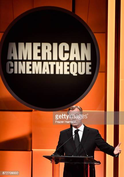 Christopher Nolan speaks onstage during the 31st Annual American Cinematheque Awards Gala at The Beverly Hilton Hotel on November 10 2017 in Beverly...