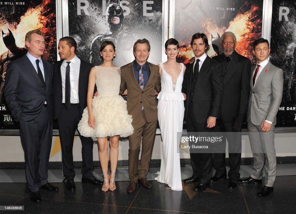 Christopher Nolan, Tom Hardy, Marion Cotillard, Gary Oldman, Anne Hathaway, Christian Bale, Morgan Freeman and Joseph Gordan-Levitt attend 'The Dark Knight Rises' New York Premiere at AMC Lincoln Square Theater on July 16, 2012 in New York City.