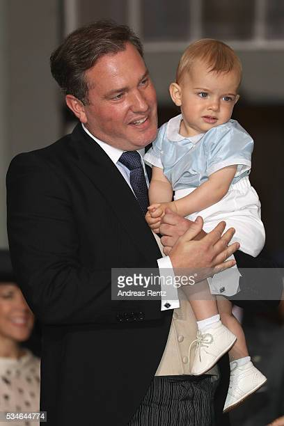 Christopher O'Neill and Prince Nicolas of Sweden are seen at Royal Palace of Stockholm for the Christening of Prince Oscar of Sweden on May 27 2016...