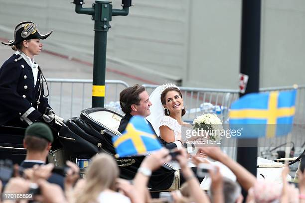 Christopher O'Neill and Princess Madeleine of Sweden are taken by horse and carriage from the Royal Palace of Stockholm to Riddarholmen after the...