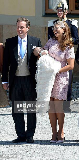 Christopher O'Neill and Princess Madeleine of Sweden carry their daughter Princess Leonore Duchess of Gotland as they leave for her Royal Christening...