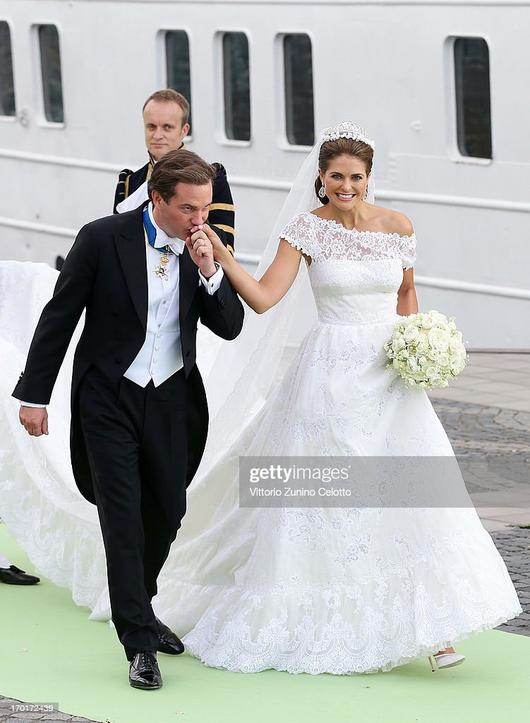 Christopher O'Neill and Princess Madeleine of Sweden depart for the banquet after the wedding ceremony of Princess Madeleine of Sweden and Christopher O'Neill hosted by King Carl Gustaf XIV and Queen Silvia at The Royal Palace on June 8, 2013 in Stockholm, Sweden.