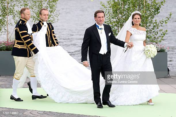 Christopher O'Neill and Princess Madeleine of Sweden depart for the travel by boat to Drottningholm Palace for dinner after the wedding ceremony of...