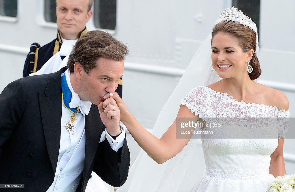 Christopher O'Neill and Princess Madeleine of Sweden depart for the trip by boat to Drottningholm Palace for dinner after their wedding ceremony hosted by King Carl Gustaf and Queen Silvia at The Royal Palace on June 8, 2013 in Stockholm, Sweden.