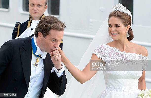 Christopher O'Neill and Princess Madeleine of Sweden depart for the trip by boat to Drottningholm Palace for dinner after their wedding ceremony...