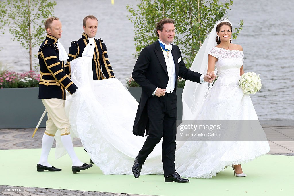 Christopher O'Neill and Princess Madeleine of Sweden depart for the travel by boat to Drottningholm Palace for dinner after the wedding ceremony of Princess Madeleine of Sweden and Christopher O'Neill hosted by King Carl Gustaf XIV and Queen Silvia at The Royal Palace on June 8, 2013 in Stockholm, Sweden.