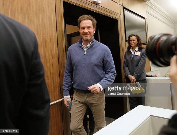 Christopher O'Neill husband of HRH Princess Madeleine of Sweden arrives at a press conference at NewYorkPresbyterian/ Weill Cornell Medical Center on...