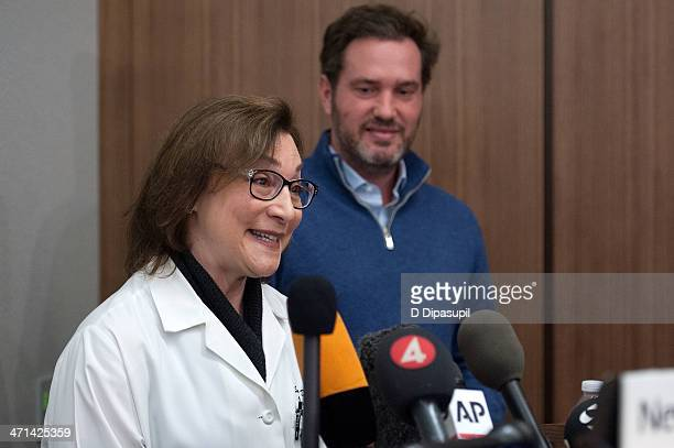 Christopher O'Neill husband of HRH Princess Madeleine of Sweden looks on as Dr Sona Degann speaks to the press at NewYorkPresbyterian/ Weill Cornell...