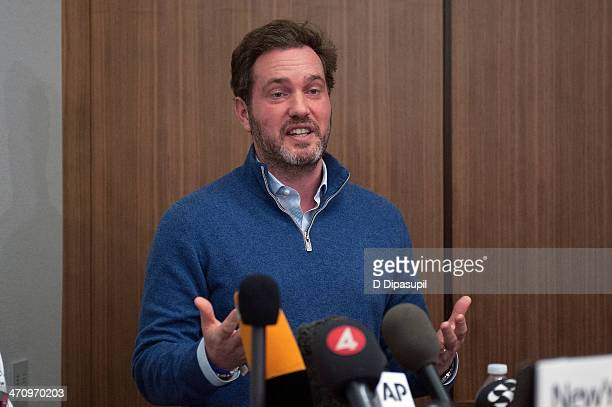 Christopher O'Neill husband of HRH Princess Madeleine of Sweden speaks to the press after the birth of his newborn daughter at NewYorkPresbyterian/...
