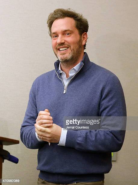 Christopher O'Neill husband of HRH Princess Madeleine of Sweden speaks at a press conference to discuss the details of the birth of his newborn...