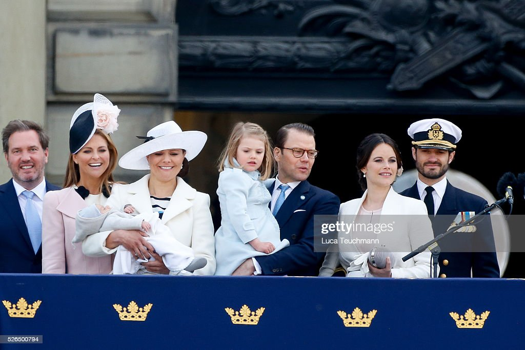 Christopher O'Neill, Princess Madeleine of Sweden, Prince Oscar of Sweden, Crown Princess Victoria of Sweden , Prince Daniel of Sweden, Princess Estelle of Sweden, Princess Sofia of Sweden and Prince Carl Philip of Sweden attend the choral tribute and cortege during the celebrations of the 70th birthday of King Carl Gustaf of Sweden on April 30, 2016 in Stockholm, .