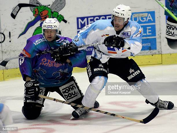 Christopher Oravec of the Freezers attacks Vadim Finko of the Moskitos during the Ice Hockey German Cup match between ESC Moskitos Essen and Hamburg...
