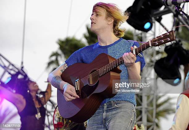 Christopher Owens of Girls performs as part of Day 1 of the 2012 Coachella Valley Music Arts Festival at the Empire Polo Fields on April 13 2012 in...