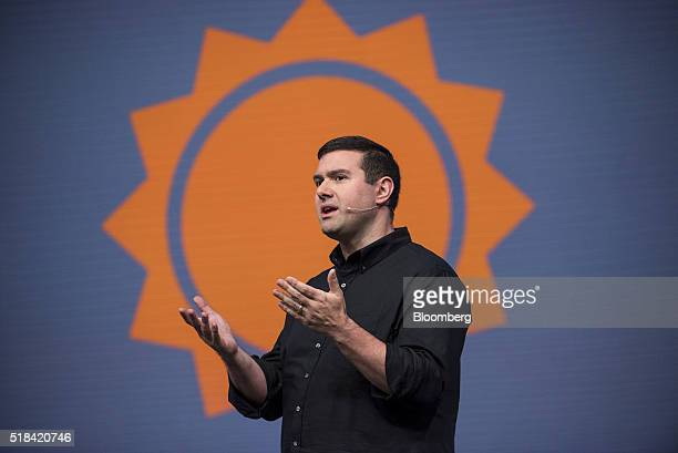Christopher Patti chief technology officer of Accuweather speaks during a keynote session at the Microsoft Developers Build Conference in San...